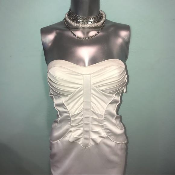 Arden B Dresses & Skirts - Strapless pleated corset satin cocktail dress